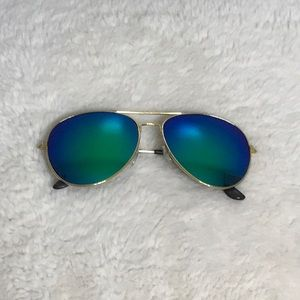5/$15 Gold Sunglasses with blue lenses